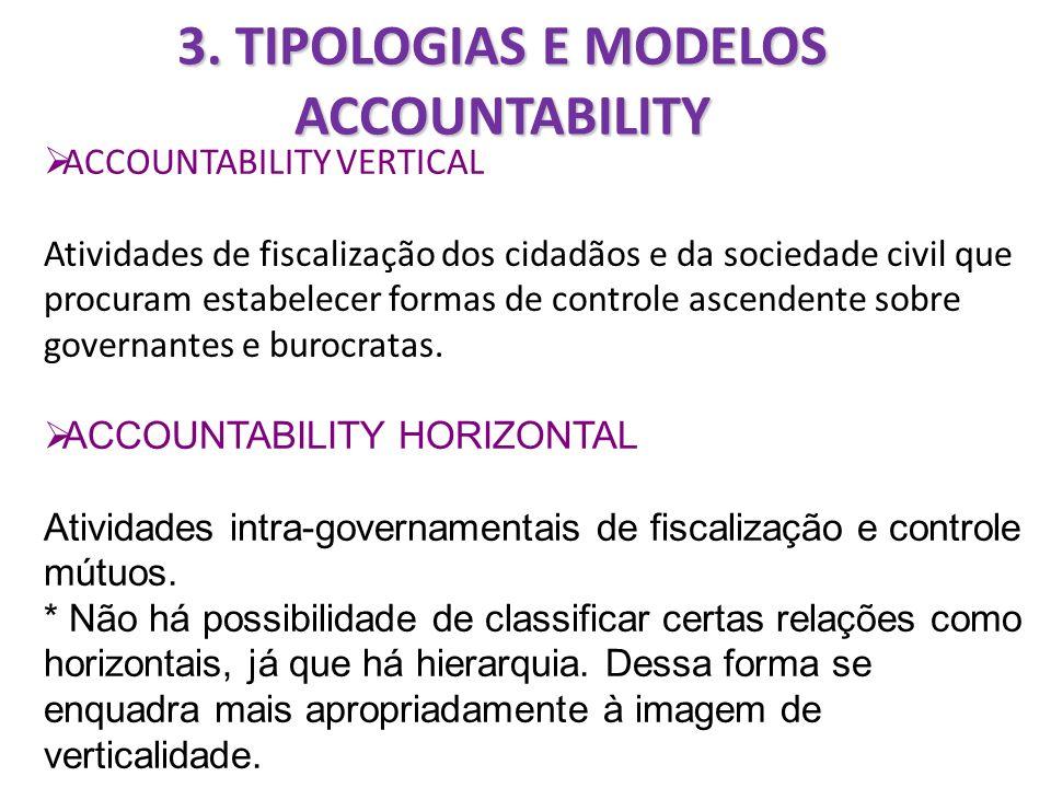 3. TIPOLOGIAS E MODELOS ACCOUNTABILITY ACCOUNTABILITY VERTICAL Atividades de fiscalização dos cidadãos e da sociedade civil que procuram estabelecer f