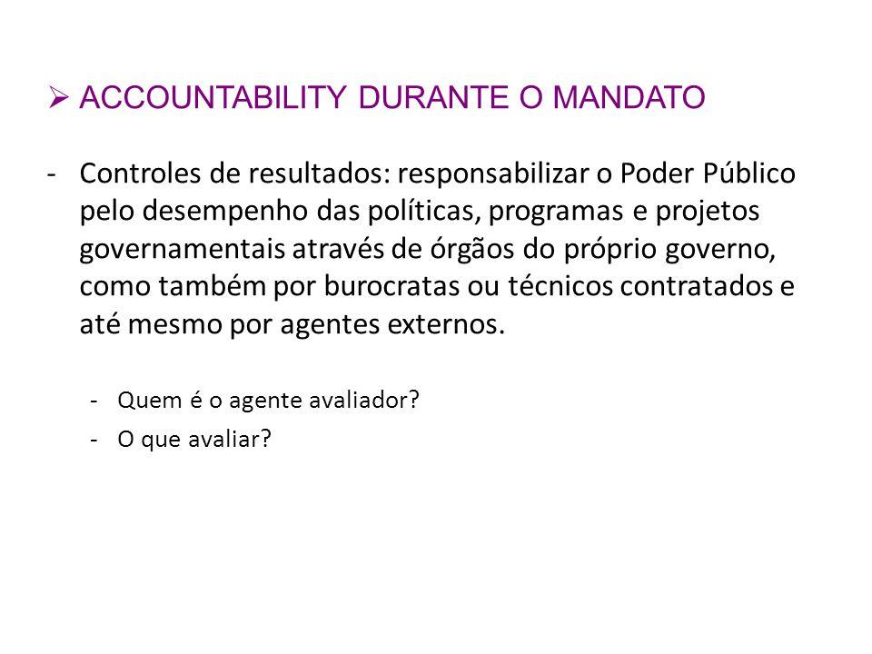 ACCOUNTABILITY DURANTE O MANDATO -Controles de resultados: responsabilizar o Poder Público pelo desempenho das políticas, programas e projetos governa
