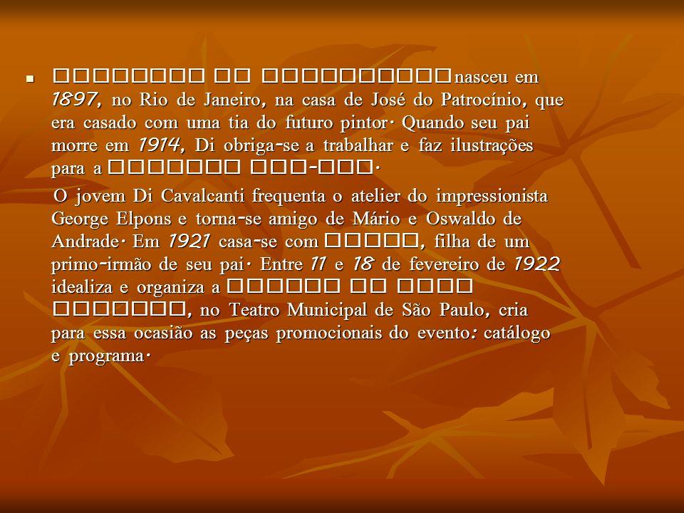 Emiliano Di Cavalcanti nasceu em 1897, no Rio de Janeiro, na casa de José do Patrocínio, que era casado com uma tia do futuro pintor. Quando seu pai m