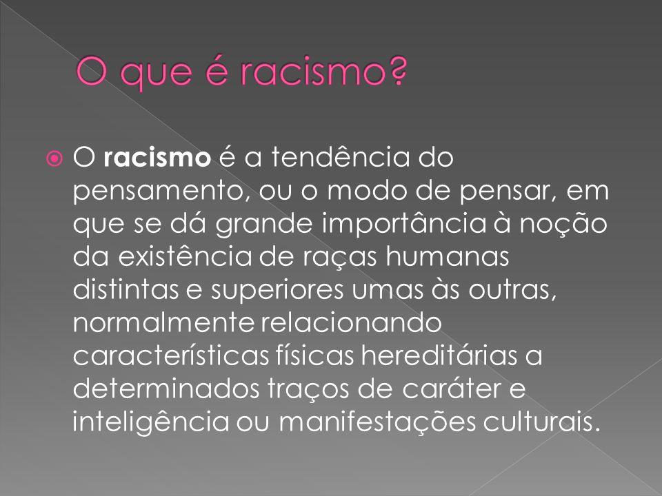 O racismo é a tendência do pensamento, ou o modo de pensar, em que se dá grande importância à noção da existência de raças humanas distintas e superio
