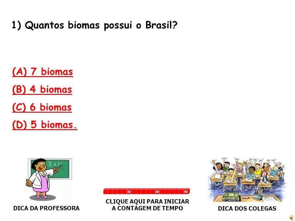 1) Quantos biomas possui o Brasil.