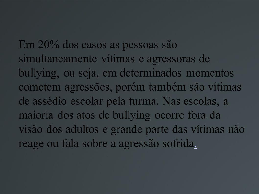 Em 20% dos casos as pessoas são simultaneamente vítimas e agressoras de bullying, ou seja, em determinados momentos cometem agressões, porém também sã