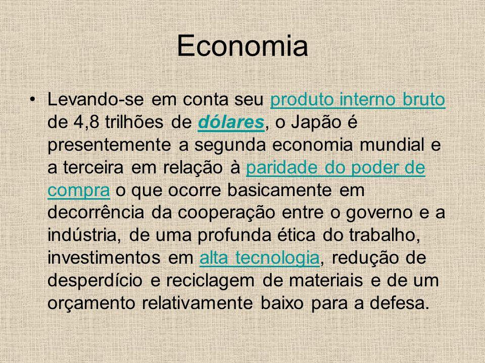 Economia Levando-se em conta seu produto interno bruto de 4,8 trilhões de dólares, o Japão é presentemente a segunda economia mundial e a terceira em