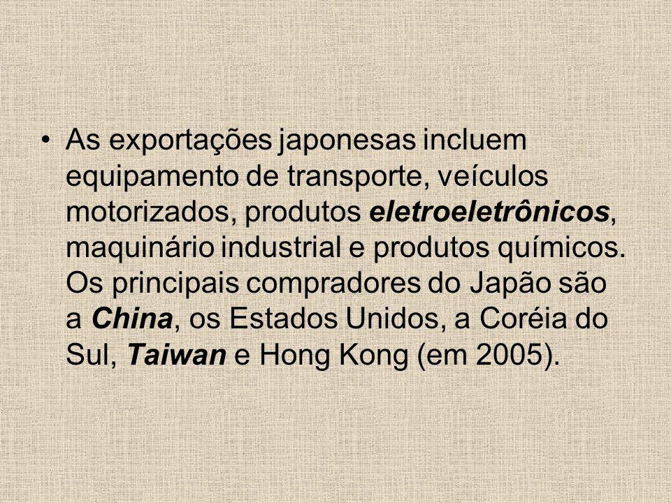 As exportações japonesas incluem equipamento de transporte, veículos motorizados, produtos eletroeletrônicos, maquinário industrial e produtos químico