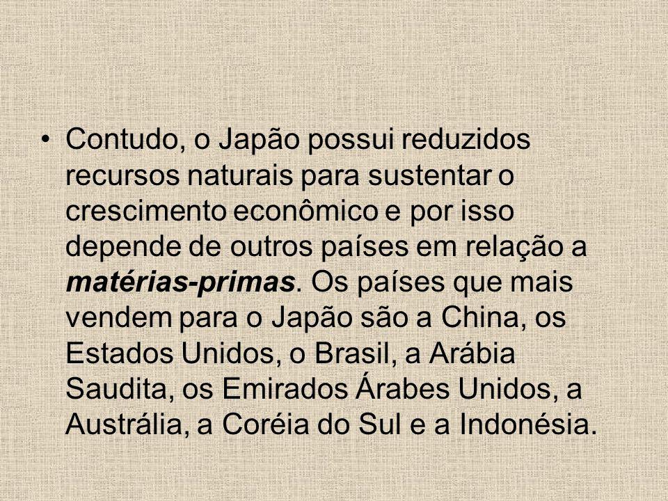 Contudo, o Japão possui reduzidos recursos naturais para sustentar o crescimento econômico e por isso depende de outros países em relação a matérias-p