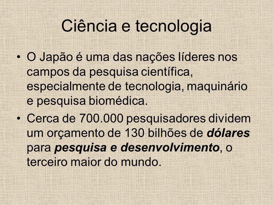 Ciência e tecnologia O Japão é uma das nações líderes nos campos da pesquisa científica, especialmente de tecnologia, maquinário e pesquisa biomédica.
