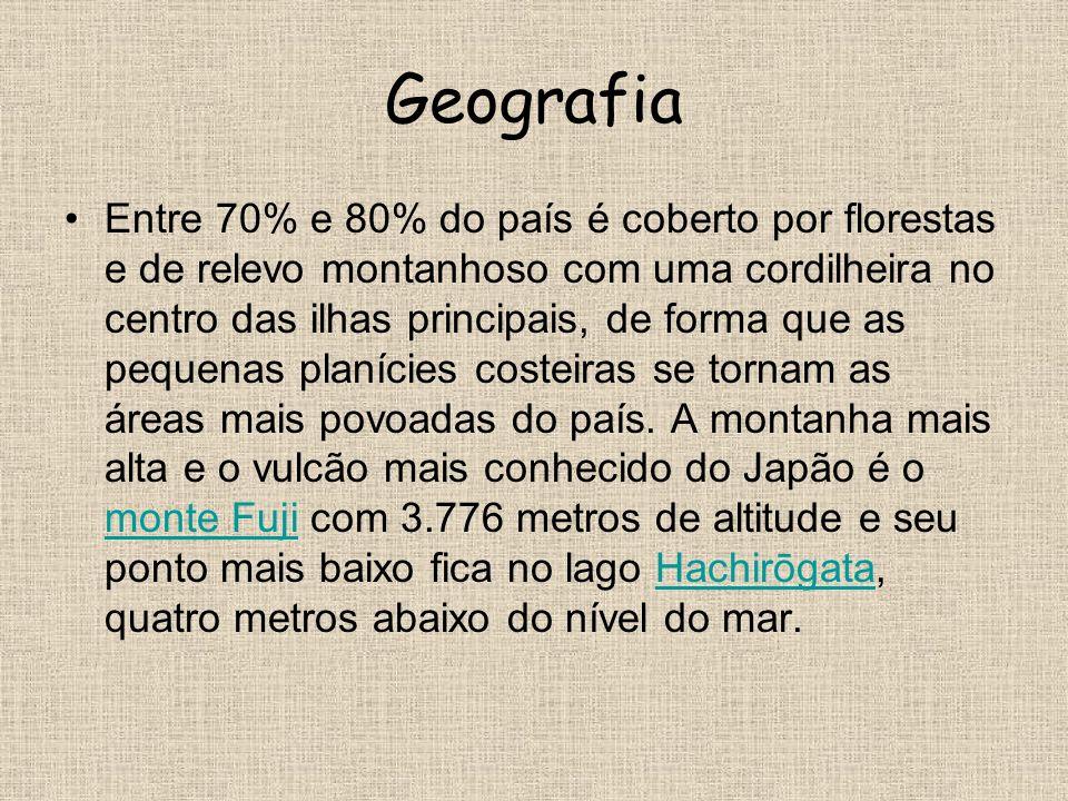 Geografia Entre 70% e 80% do país é coberto por florestas e de relevo montanhoso com uma cordilheira no centro das ilhas principais, de forma que as p