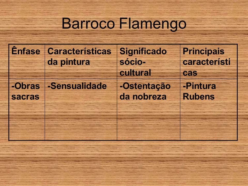 Barroco Flamengo ÊnfaseCaracterísticas da pintura Significado sócio- cultural Principais característi cas -Obras sacras -Sensualidade-Ostentação da no