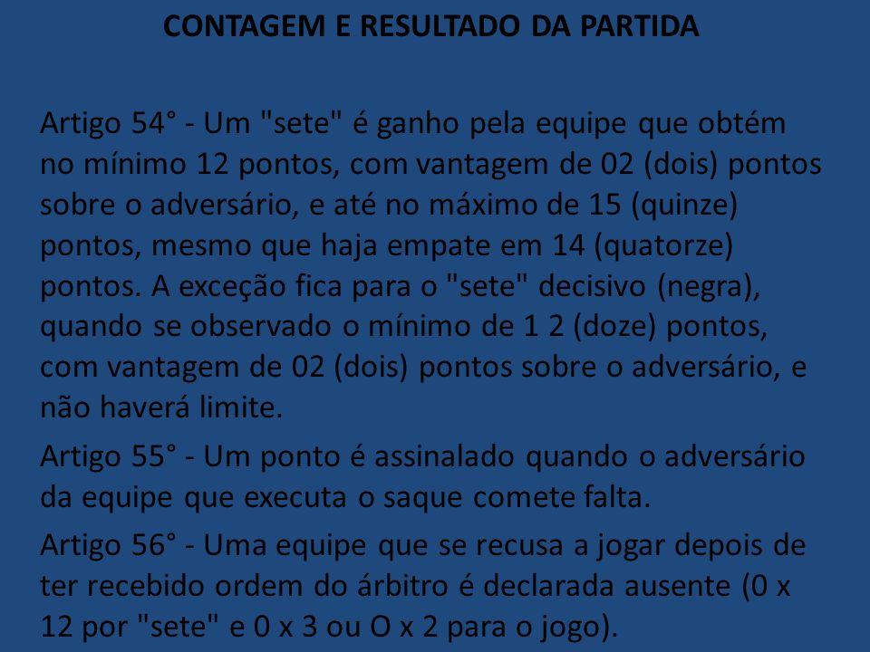 CONTAGEM E RESULTADO DA PARTIDA Artigo 54° - Um