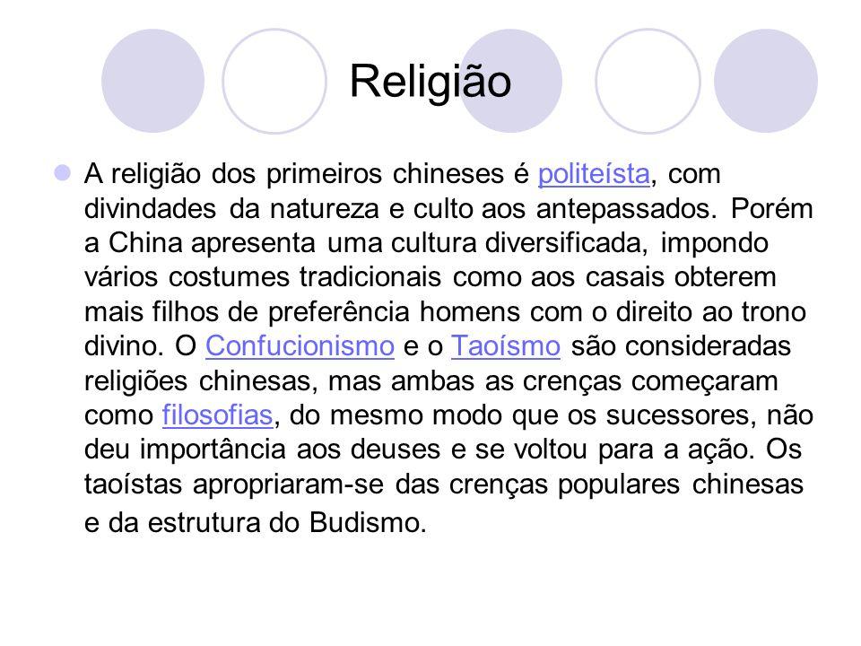 Religião A religião dos primeiros chineses é politeísta, com divindades da natureza e culto aos antepassados. Porém a China apresenta uma cultura dive