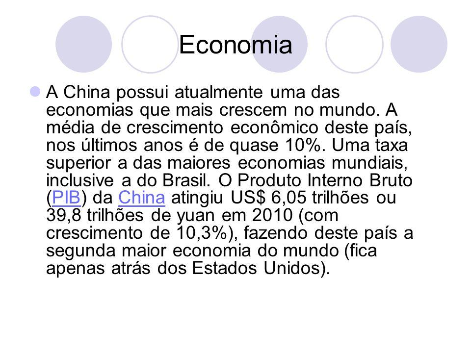 Economia A China possui atualmente uma das economias que mais crescem no mundo. A média de crescimento econômico deste país, nos últimos anos é de qua