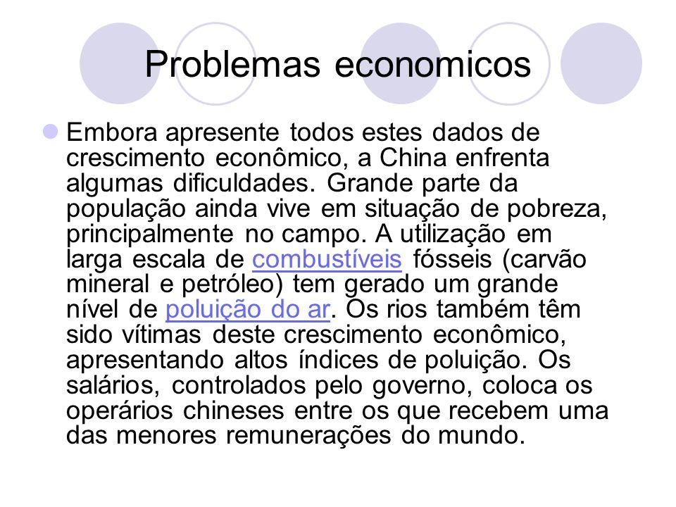 Problemas economicos Embora apresente todos estes dados de crescimento econômico, a China enfrenta algumas dificuldades. Grande parte da população ain