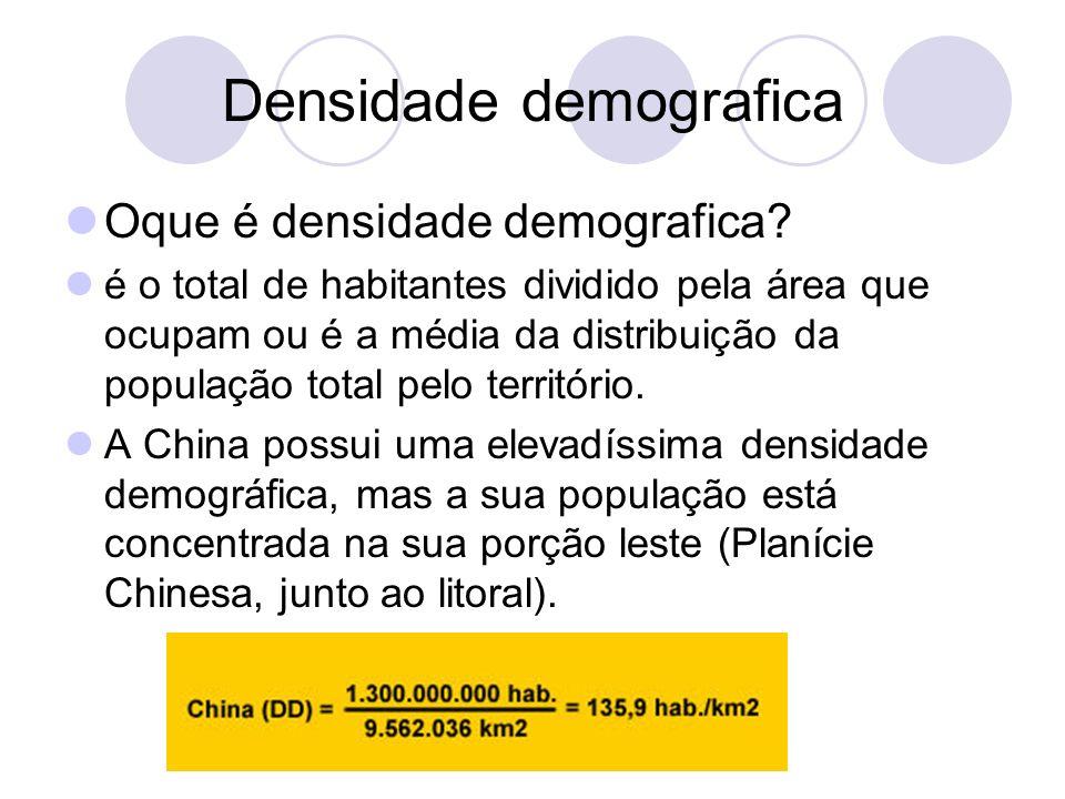 Densidade demografica Oque é densidade demografica? é o total de habitantes dividido pela área que ocupam ou é a média da distribuição da população to