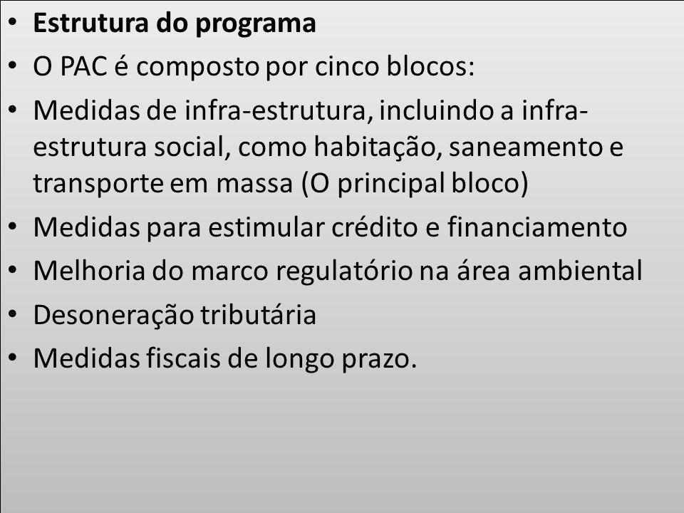 Estrutura do programa O PAC é composto por cinco blocos: Medidas de infra-estrutura, incluindo a infra- estrutura social, como habitação, saneamento e