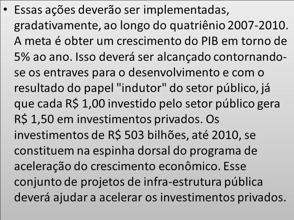 Essas ações deverão ser implementadas, gradativamente, ao longo do quatriênio 2007-2010. A meta é obter um crescimento do PIB em torno de 5% ao ano. I