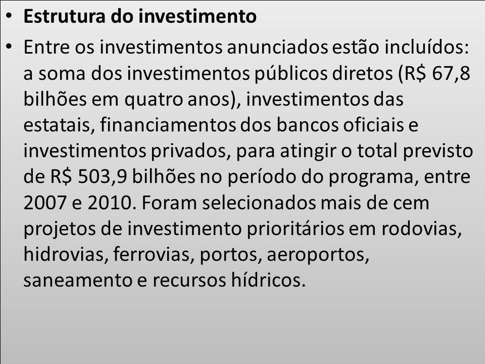 Estrutura do investimento Entre os investimentos anunciados estão incluídos: a soma dos investimentos públicos diretos (R$ 67,8 bilhões em quatro anos