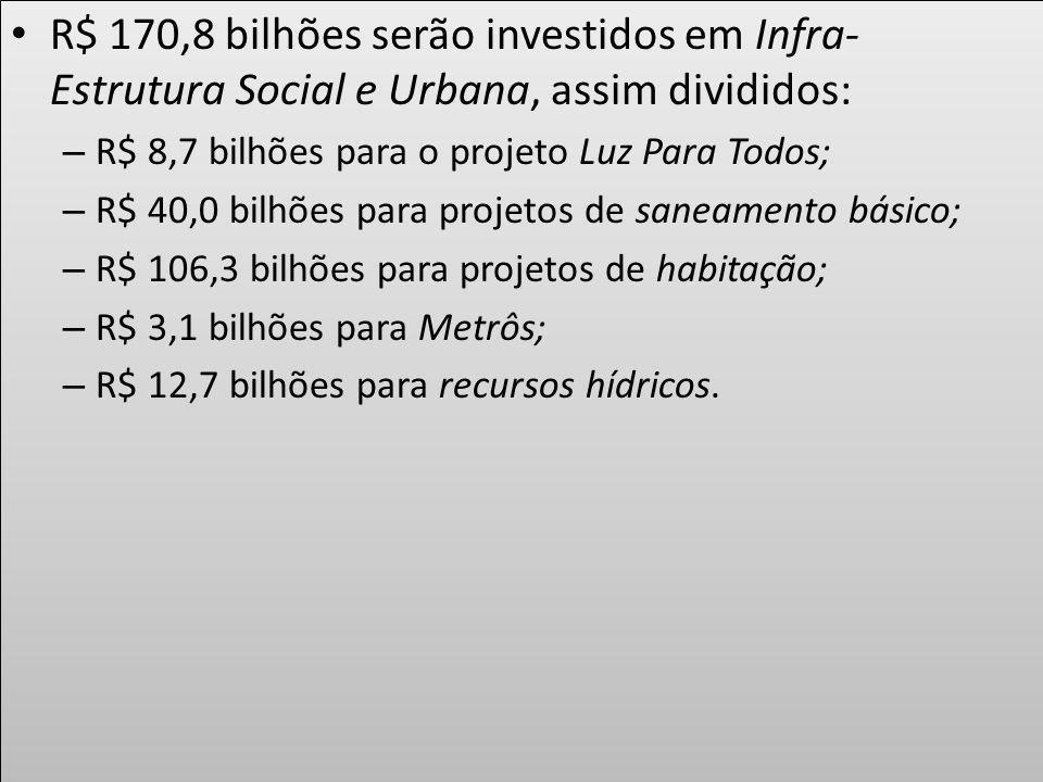 R$ 170,8 bilhões serão investidos em Infra- Estrutura Social e Urbana, assim divididos: – R$ 8,7 bilhões para o projeto Luz Para Todos; – R$ 40,0 bilh
