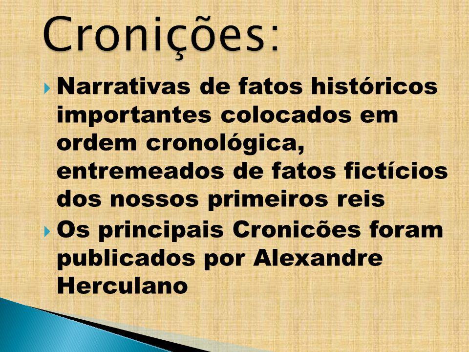 Narrativas de fatos históricos importantes colocados em ordem cronológica, entremeados de fatos fictícios dos nossos primeiros reis Os principais Cron