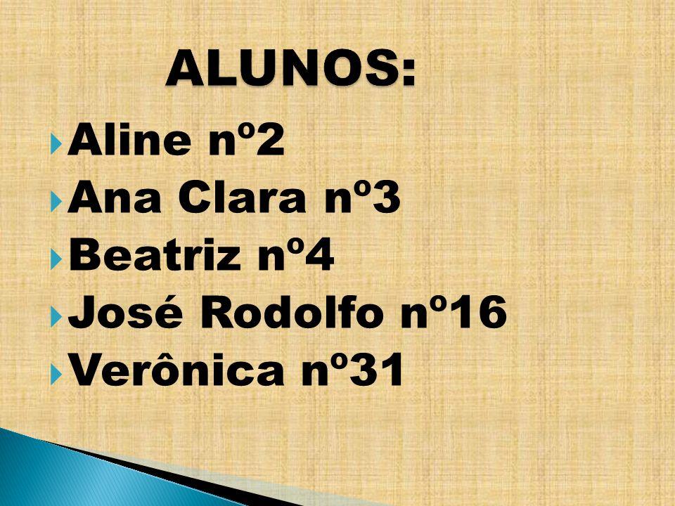Aline nº2 Ana Clara nº3 Beatriz nº4 José Rodolfo nº16 Verônica nº31