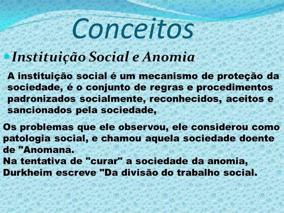 Conceitos Instituição Social e Anomia A instituição social é um mecanismo de proteção da sociedade, é o conjunto de regras e procedimentos padronizado