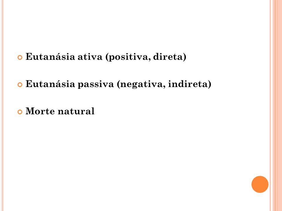 Eutanásia ativa (positiva, direta) Eutanásia passiva (negativa, indireta) Morte natural