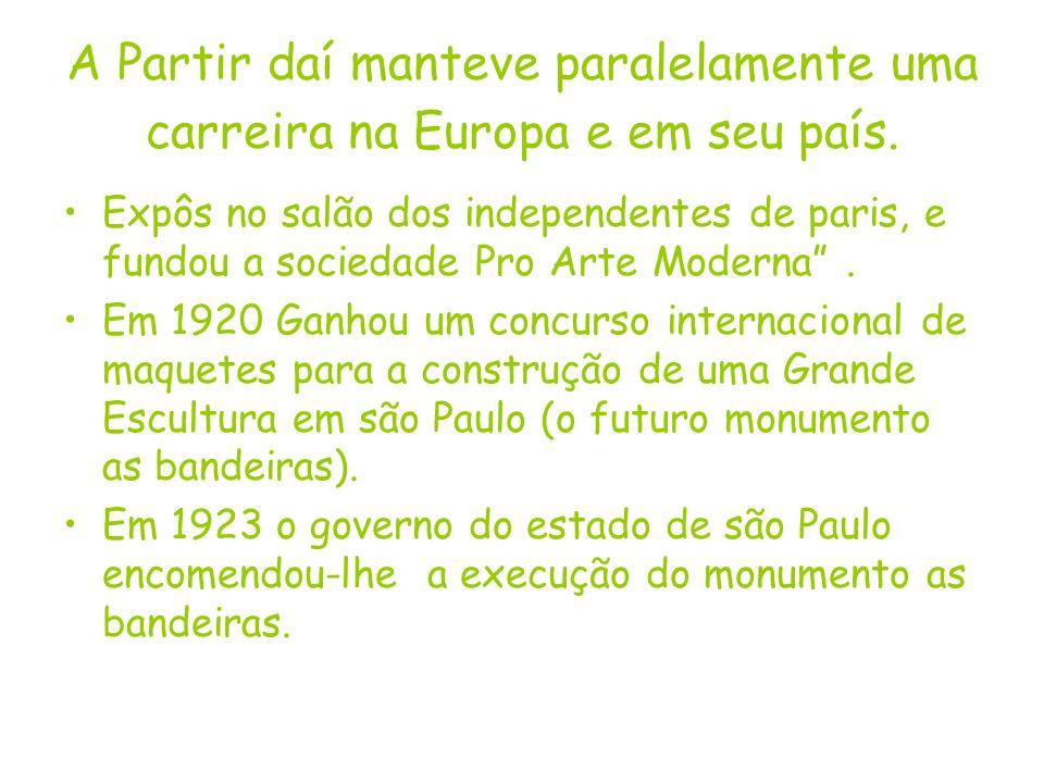 A Partir daí manteve paralelamente uma carreira na Europa e em seu país. Expôs no salão dos independentes de paris, e fundou a sociedade Pro Arte Mode