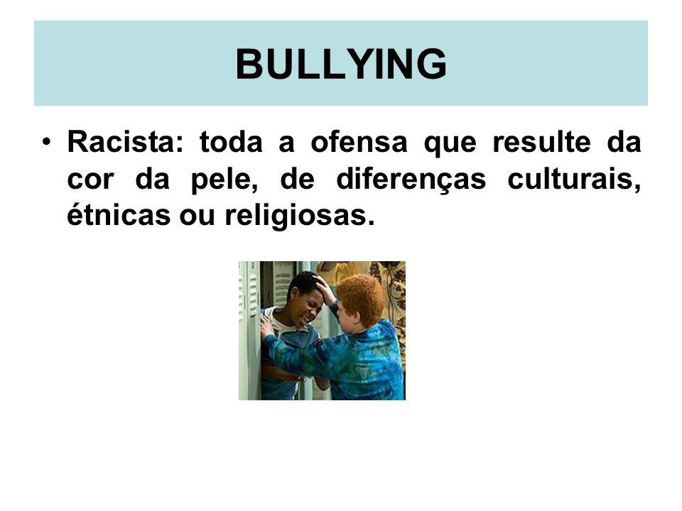 BULLYING Racista: toda a ofensa que resulte da cor da pele, de diferenças culturais, étnicas ou religiosas.