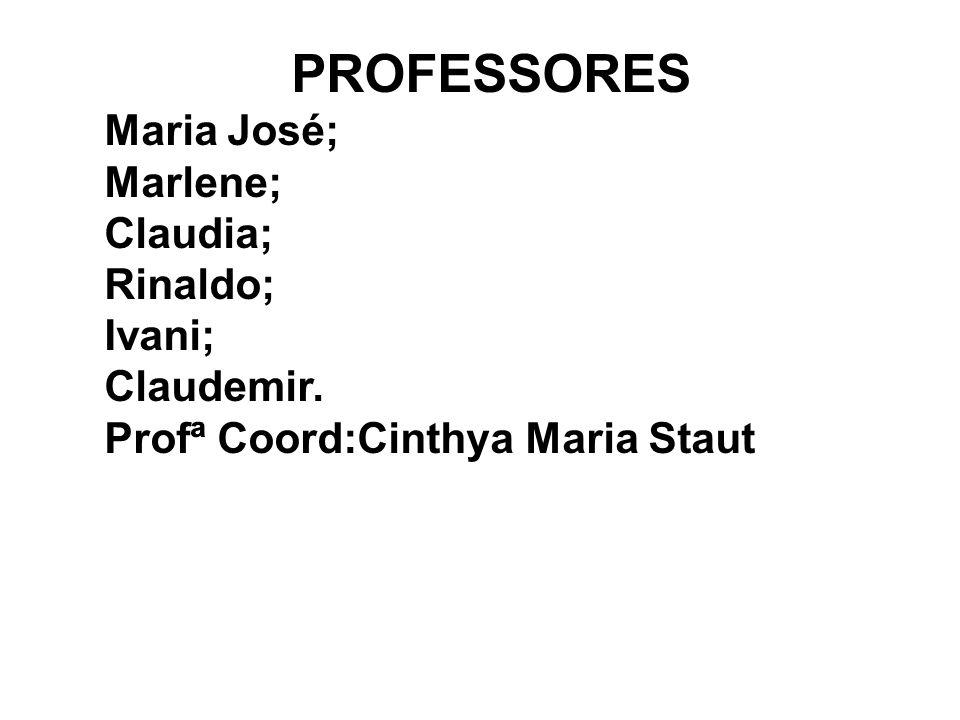 PROFESSORES Maria José; Marlene; Claudia; Rinaldo; Ivani; Claudemir. Profª Coord:Cinthya Maria Staut