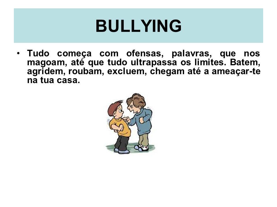 Bullying Esta forma de agressão, chamada de bullying, pode levar ao suicídio, surge na escola e tem uma grande intensidade entre crianças, de ambos os sexos, entre os onze e os dezesseis anos.