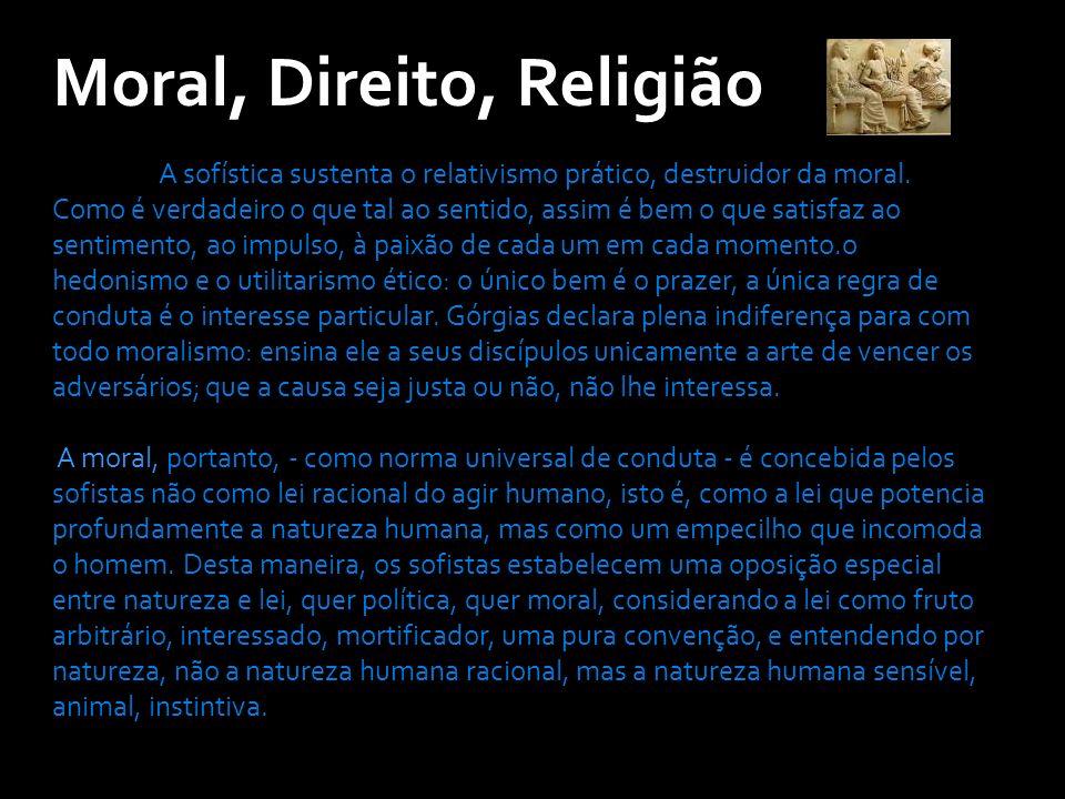 Moral, Direito, Religião A sofística sustenta o relativismo prático, destruidor da moral.