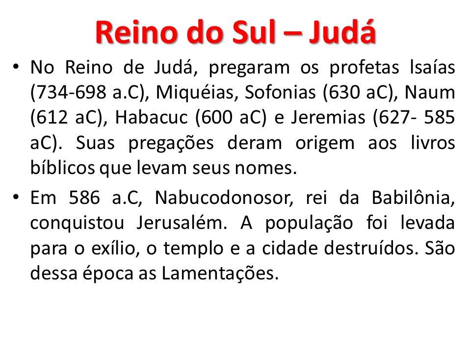 Reino do Sul – Judá No Reino de Judá, pregaram os profetas lsaías (734-698 a.C), Miquéias, Sofonias (630 aC), Naum (612 aC), Habacuc (600 aC) e Jeremi