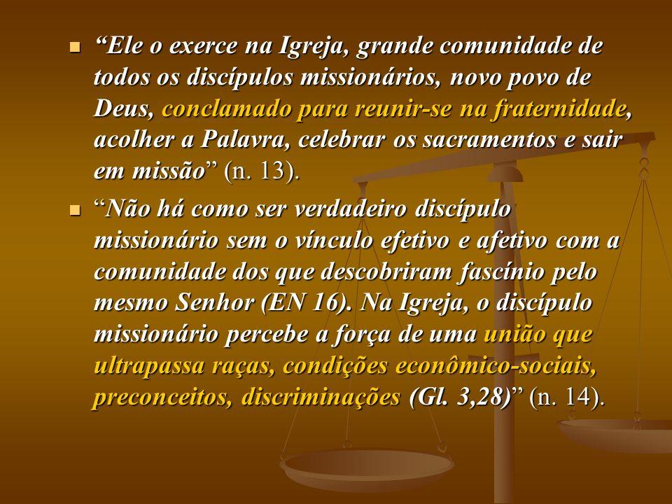 Ele o exerce na Igreja, grande comunidade de todos os discípulos missionários, novo povo de Deus, conclamado para reunir-se na fraternidade, acolher a