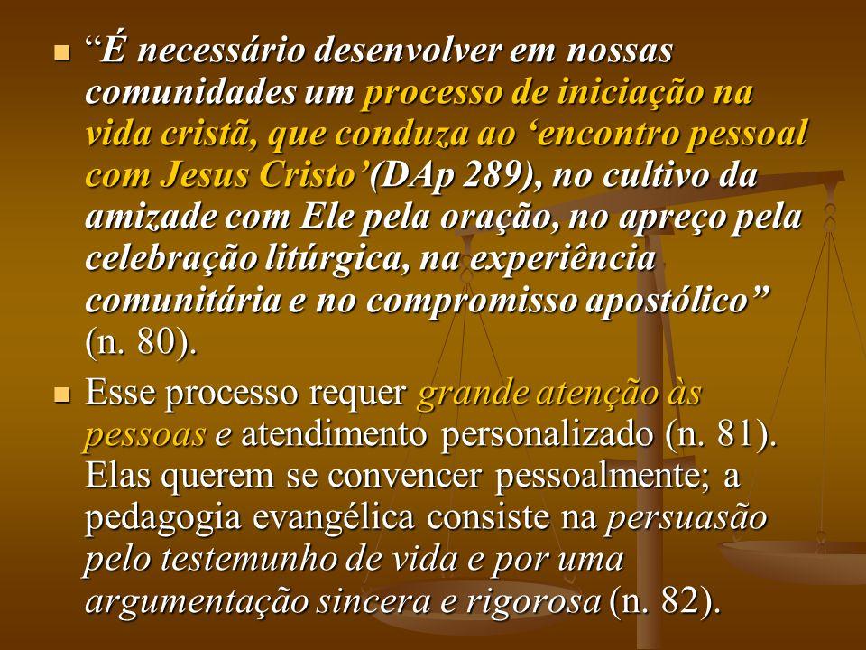 É necessário desenvolver em nossas comunidades um processo de iniciação na vida cristã, que conduza ao encontro pessoal com Jesus Cristo(DAp 289), no