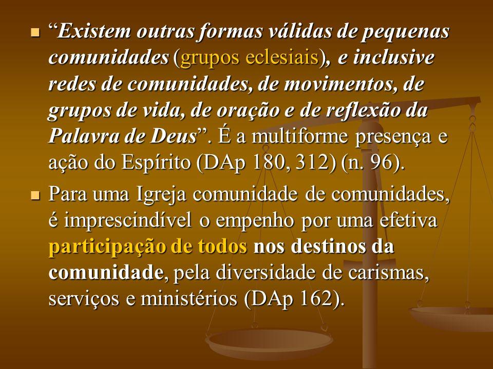 Existem outras formas válidas de pequenas comunidades (grupos eclesiais), e inclusive redes de comunidades, de movimentos, de grupos de vida, de oraçã