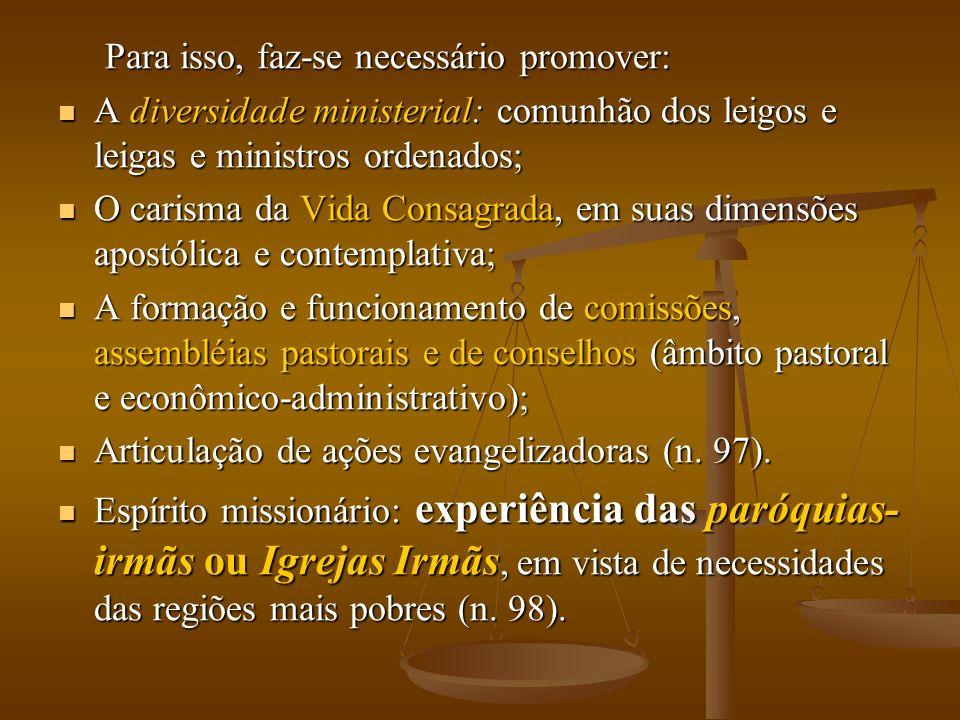 Para isso, faz-se necessário promover: Para isso, faz-se necessário promover: A diversidade ministerial: comunhão dos leigos e leigas e ministros orde