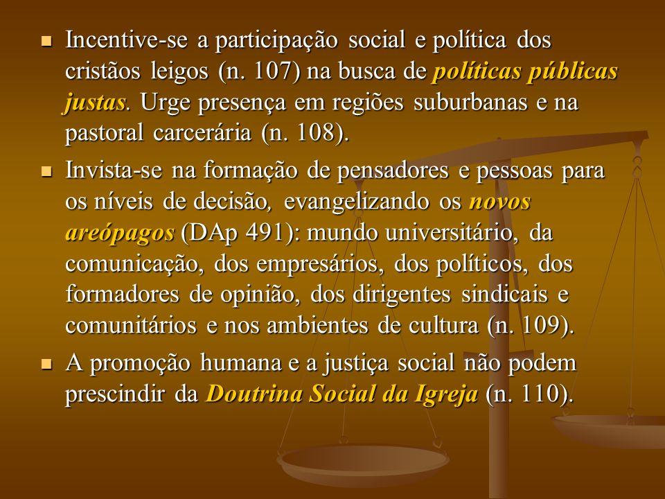 Incentive-se a participação social e política dos cristãos leigos (n. 107) na busca de políticas públicas justas. Urge presença em regiões suburbanas