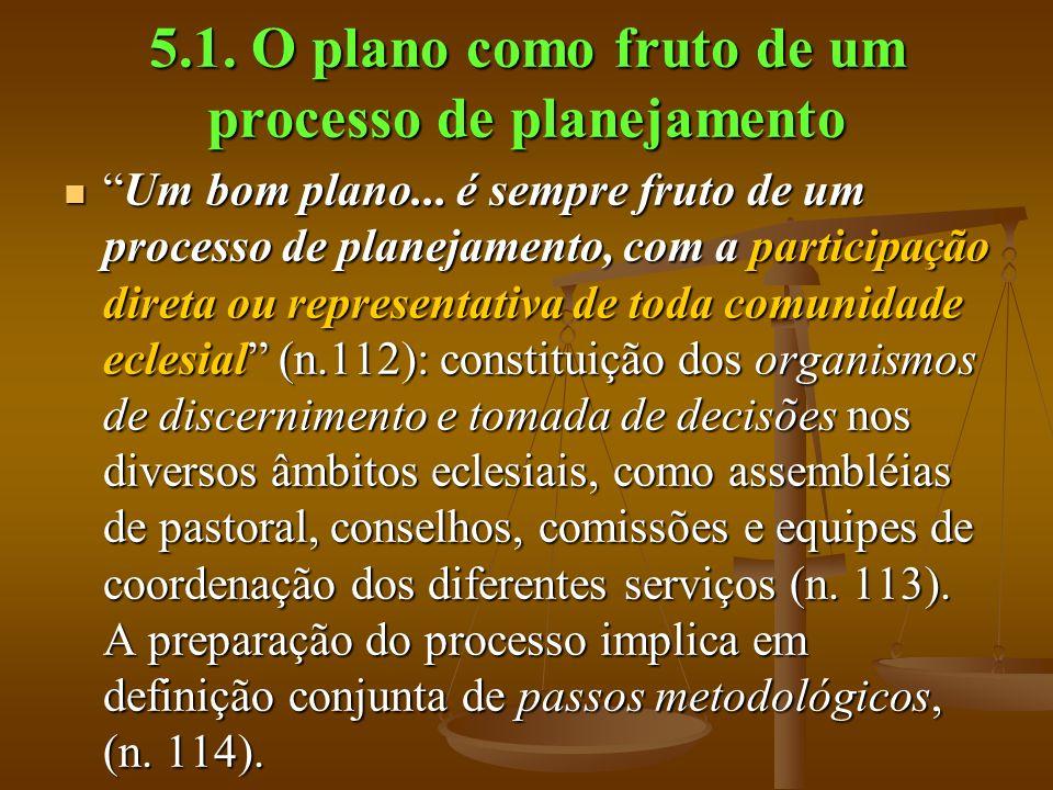 5.1. O plano como fruto de um processo de planejamento Um bom plano... é sempre fruto de um processo de planejamento, com a participação direta ou rep