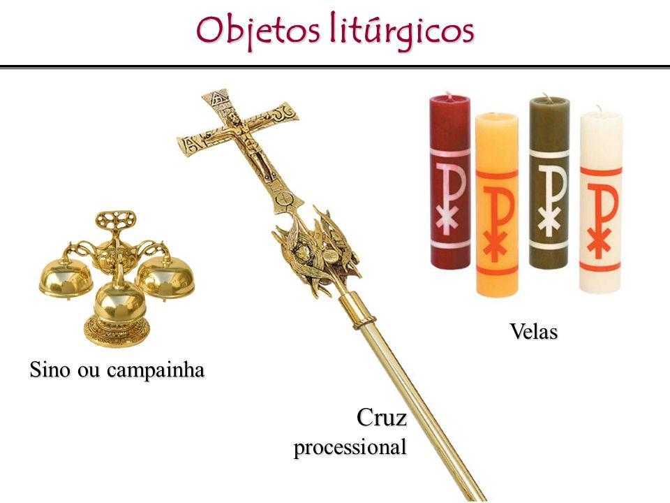 Objetos litúrgicos Sino ou campainha Velas Cruzprocessional