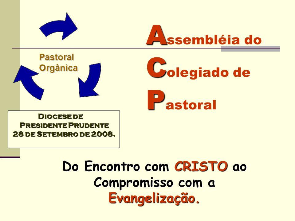 Pastoral Pastoral Orgânica Orgânica A C P A ssembléia do C olegiado de P astoral Do Encontro com CRISTO ao Compromisso com a Evangelização. Diocese de