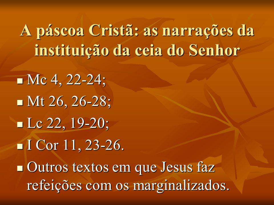 A páscoa Cristã: as narrações da instituição da ceia do Senhor Mc 4, 22-24; Mc 4, 22-24; Mt 26, 26-28; Mt 26, 26-28; Lc 22, 19-20; Lc 22, 19-20; I Cor 11, 23-26.
