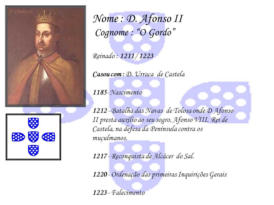 Nome : D. Afonso II Cognome : O Gordo Reinado : 1211 / 1223 Casou com : D. Urraca de Castela 1185- Nascimento 1212 - Batalha das Navas de Tolosa onde