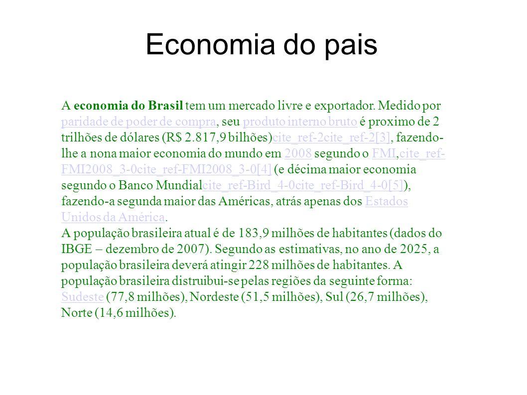 Economia do pais A economia do Brasil tem um mercado livre e exportador. Medido por paridade de poder de compra, seu produto interno bruto é proximo d