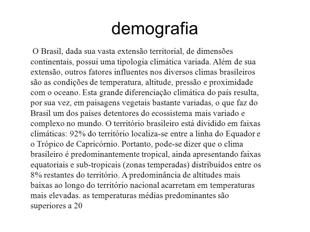 demografia O Brasil, dada sua vasta extensão territorial, de dimensões continentais, possui uma tipologia climática variada. Além de sua extensão, out