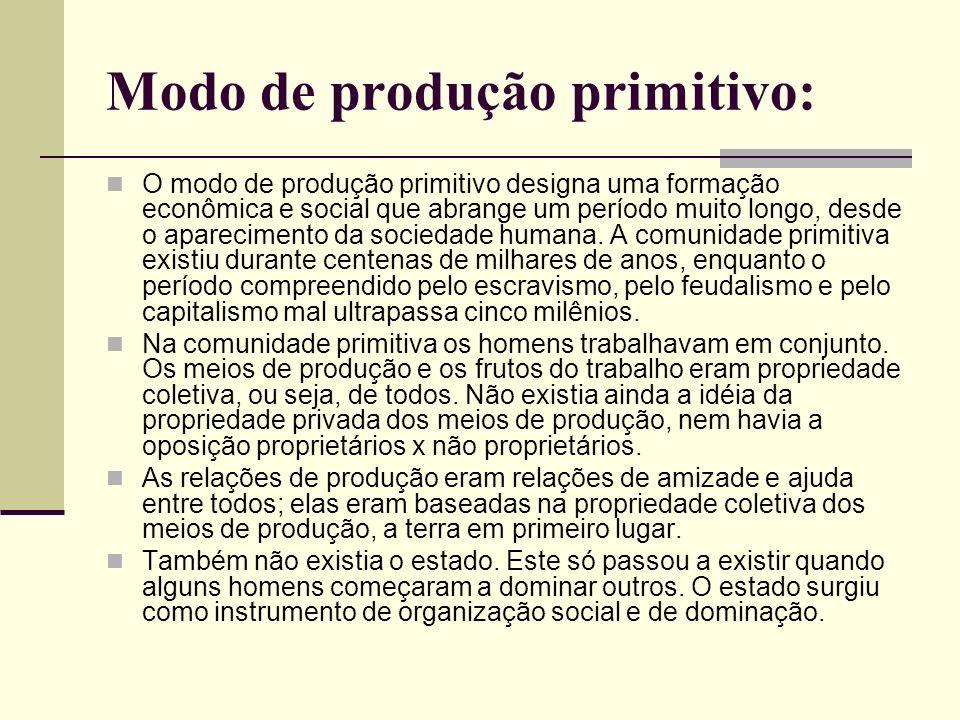 Modo de produção primitivo: O modo de produção primitivo designa uma formação econômica e social que abrange um período muito longo, desde o aparecimento da sociedade humana.
