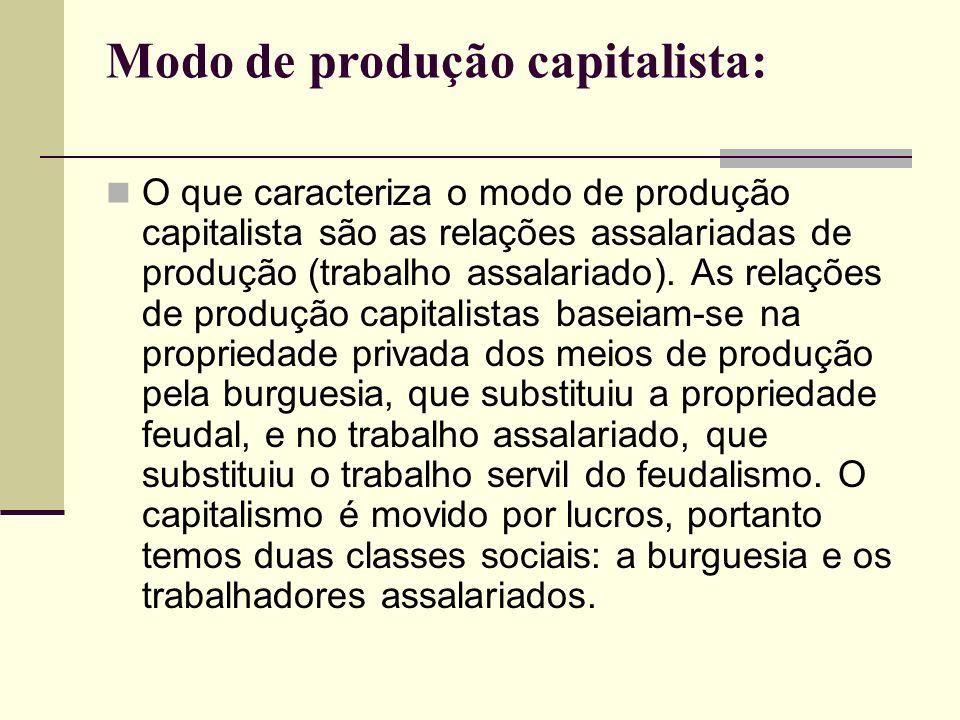 Modo de produção capitalista: O que caracteriza o modo de produção capitalista são as relações assalariadas de produção (trabalho assalariado).