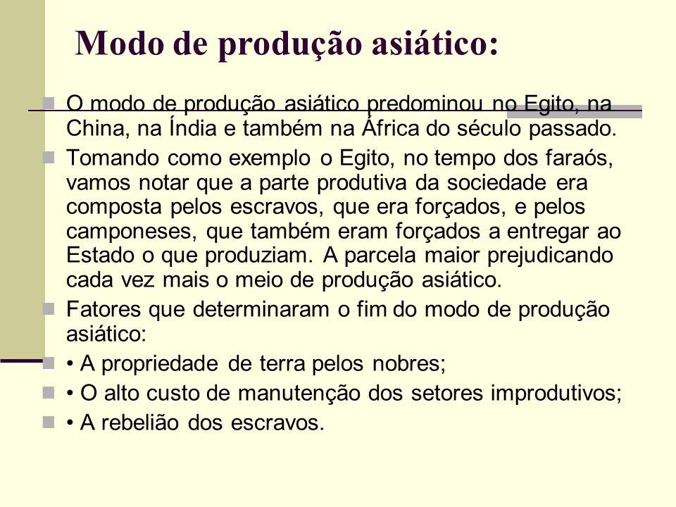 Modo de produção asiático: O modo de produção asiático predominou no Egito, na China, na Índia e também na África do século passado.