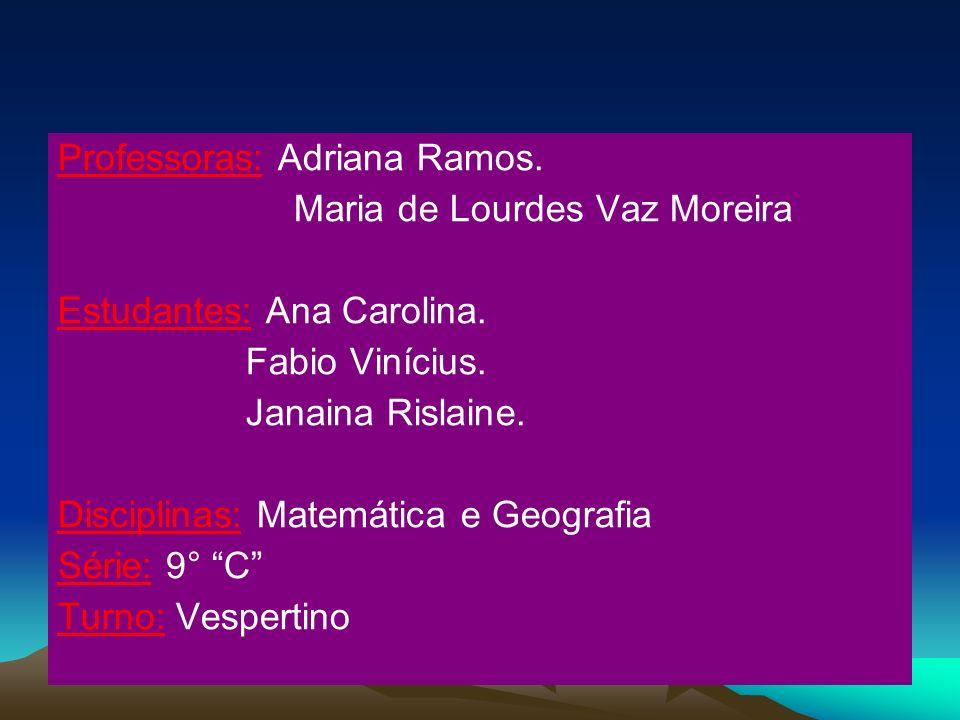 Professoras: Adriana Ramos.Maria de Lourdes Vaz Moreira Estudantes: Ana Carolina.