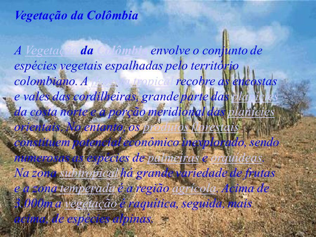 JJ Vegetação da Colômbia A Vegetação da Colômbia envolve o conjunto de espécies vegetais espalhadas pelo território colombiano. A floresta tropical re