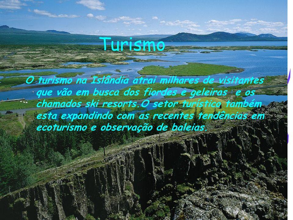 Turismo O turismo na Islândia atrai milhares de visitantes que vão em busca dos fiordes e geleiras e os chamados ski resorts.O setor turístico também