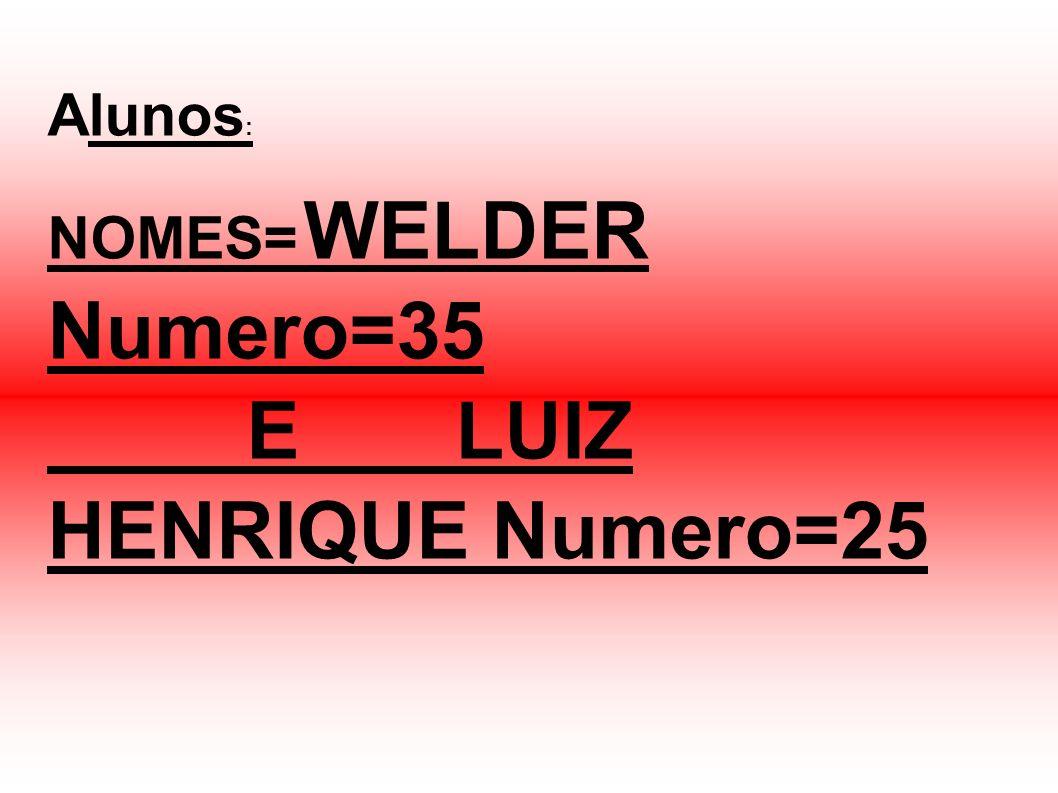 Alunos : NOMES= WELDER Numero=35 E LUIZ HENRIQUE Numero=25
